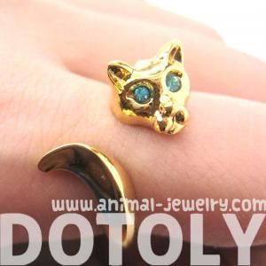 KITTY CAT ANIMAL WRAP RING IN SHINY..
