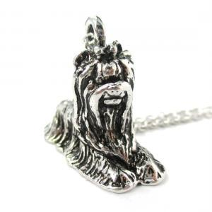 3D Detailed Yorkshire Terrier Shaped Dog Lover Animal Charm Necklace in Shiny Silver for Women