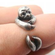 Realistic Sloth Animal Wrap Around Hug Ring in Silver - Sizes 5 to 10 Available