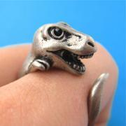 Large 3D Dinosaur Animal Wrap Around Hug Ring in Silver Sizes 4 - 9
