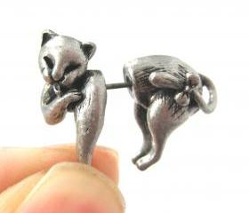 Cute Fake Gauge Kitty Cat Cute Animal 3D Plug Stud Earrings in Silver
