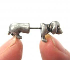 Tiny Fake Gauge Plug Puppy Dog Cute Animal 3D Plug Stud Earrings in Silver
