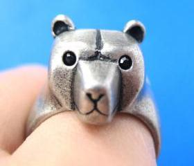 3D Adjustable Polar Bear Teddy Animal Wrap Around Hug Ring in Silver