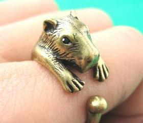 Large 3D Wombat Capybara Animal Wrap Hug Ring in Brass Sizes 4 to 9