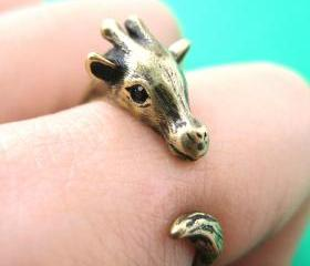 Giraffe Animal Wrap Around Hug Ring in Brass for Women - Sizes 4 to 9