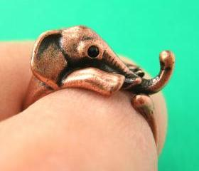 Realistic Elephant Animal Wrap Around Hug Ring in Copper Sizes 4 to 13