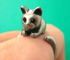 Kitty Cat Animal Pet Wrap Around Hug Ring in Silver Sizes 4 to 9