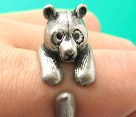 Large 3D Panda Bear Animal Wrap Around Hug Ring in Silver Sizes 4 to 10