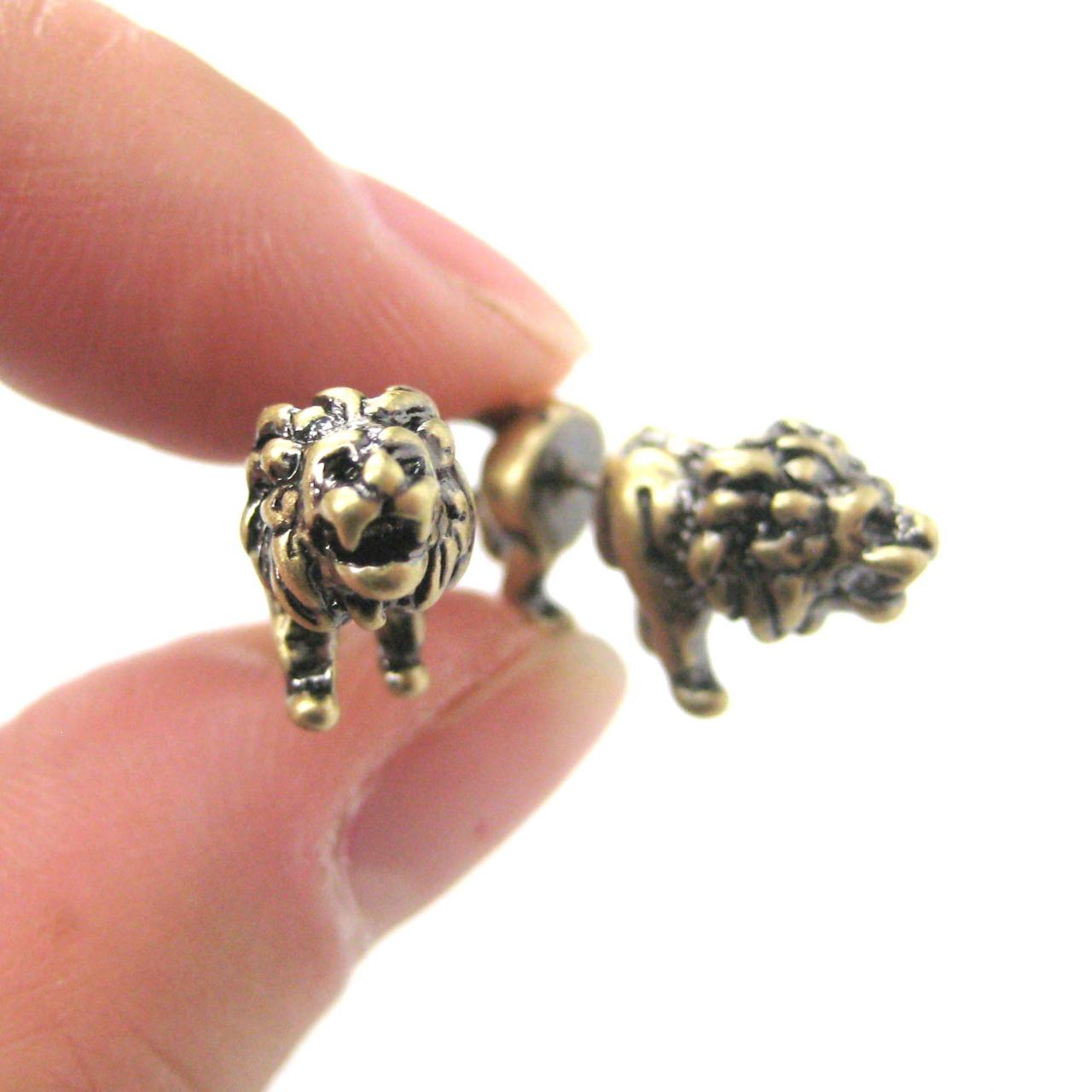 UNIQUE FAKE GAUGE LION SHAPED ANIMAL STUD EARRINGS IN ...
