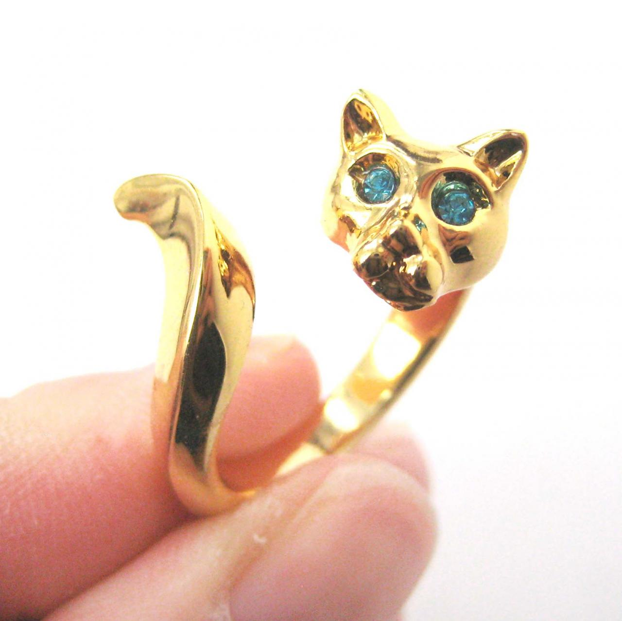 KITTY CAT ANIMAL WRAP RING IN SHINY GOLD WITH RHINESTONE EYES | US SIZES 4 TO 8