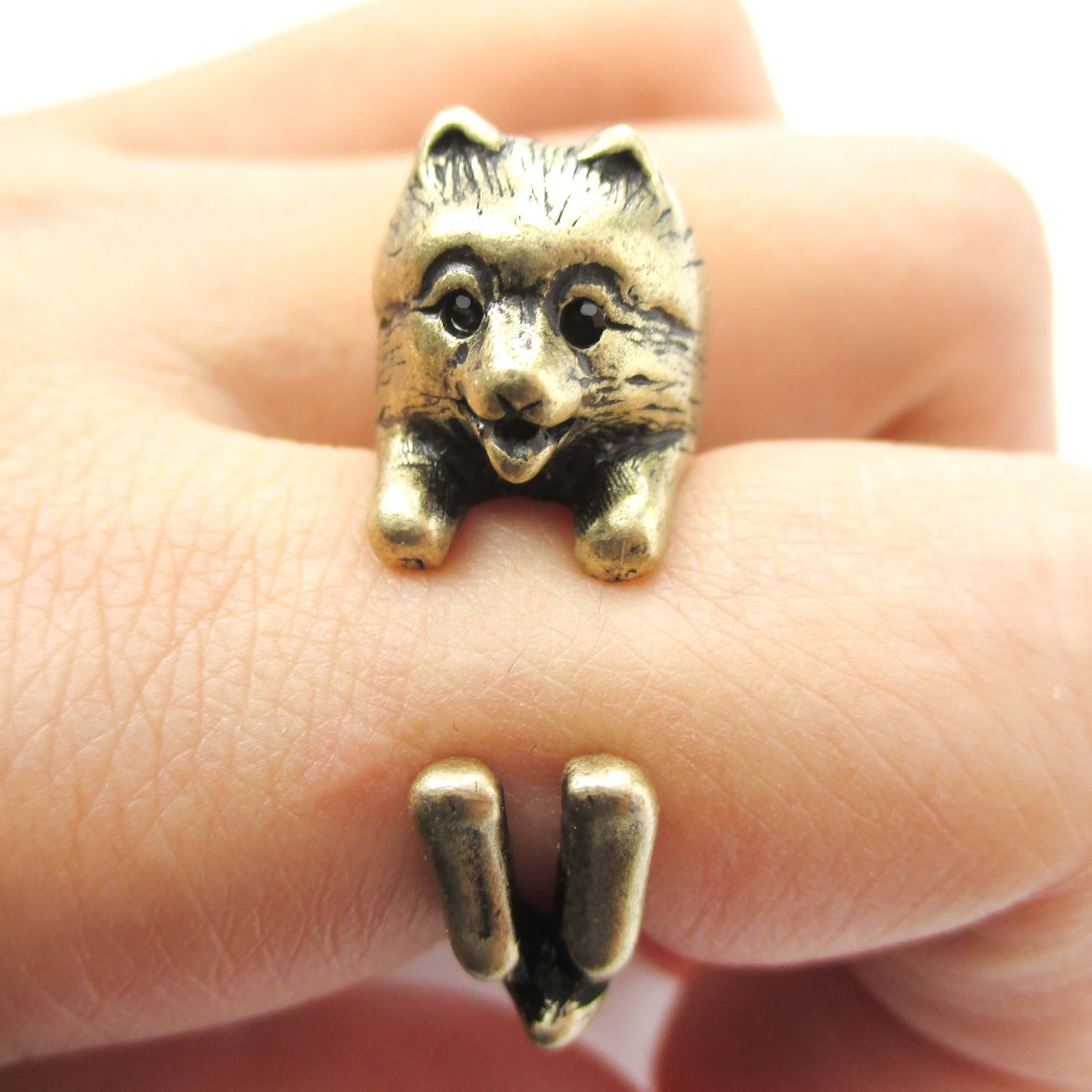 Realistic Pomeranian Shaped Animal Wrap Ring in Bronze | Size 4 to 8.5