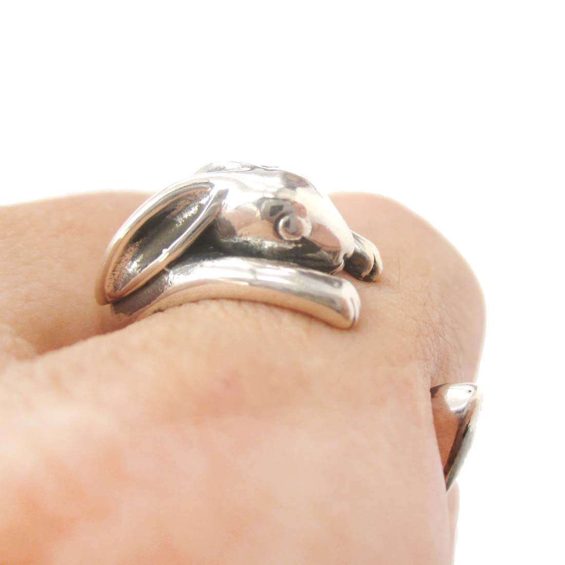 Bunny Rabbit Animal Wrap Around Hug Ring in Solid 925 Sterling Silver - US Sizes 4 to 8.5 Available