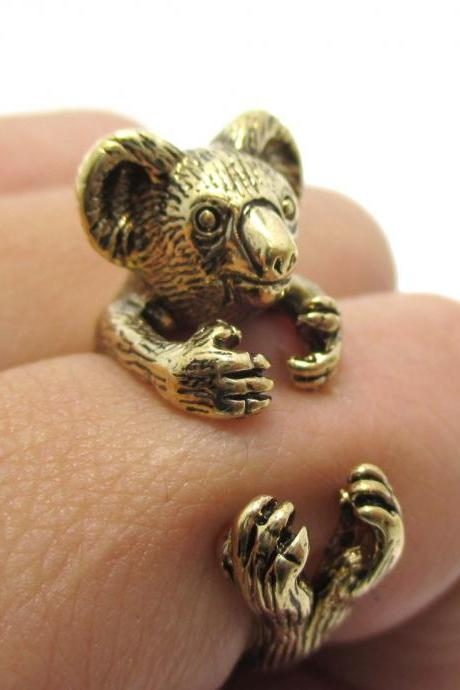 3D Koala Bear Animal Wrap Around Your Finger Ring in Shiny Gold | Size 4 to 8.5