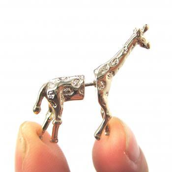 Fake Gauge Realistic Giraffe Animal 3D Plug Stud Earrings in SHINY Gold