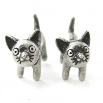3D Fake Gauge Adorable Kitty Cat Animal Stud Earrings in Silver