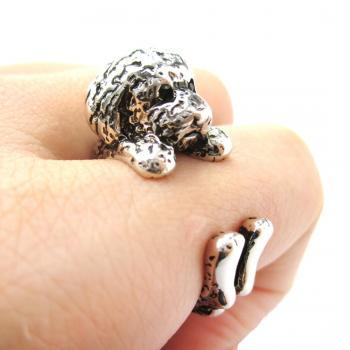 Realistic Toy Poodle Shaped Animal Wrap Ring in Shiny Silver | Size 4 to 8.5