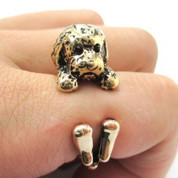 Realistic Toy Poodle Shaped Animal Wrap Ring in Shiny Gold | Size 4 to 8.5